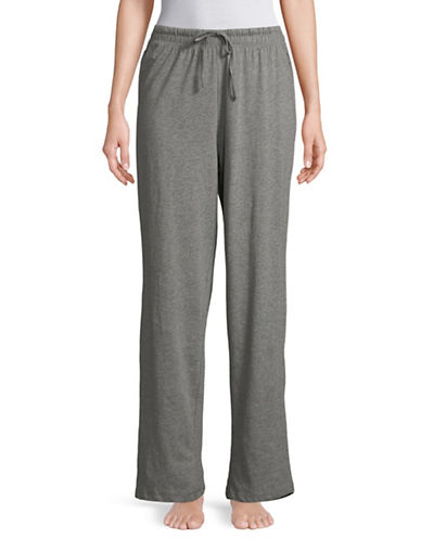 Lord & Taylor Drawstring Cotton Lounge Pants-DARK GREY-Medium