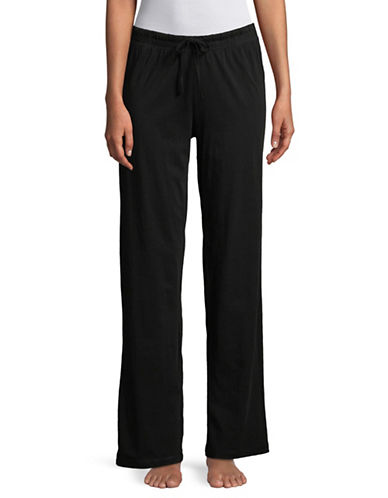 Lord & Taylor Drawstring Cotton Lounge Pants-BLACK-Medium
