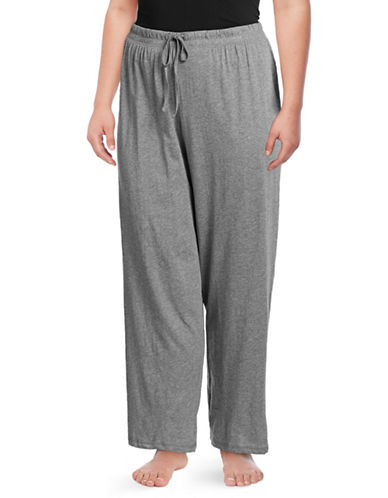 Lord & Taylor Plus Drawstring Cotton Lounge Pants-DARK GREY-3X