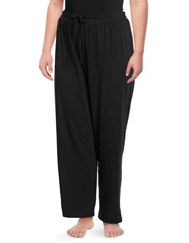 Lord & Taylor Plus Drawstring Cotton Lounge Pants-BLACK-2X