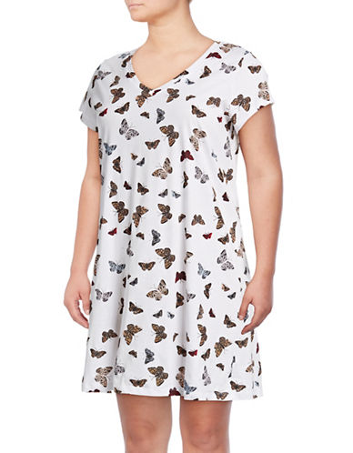 Lord & Taylor Plus Short-Sleeve Cotton Sleepshirt-BUTTERFLY-2X