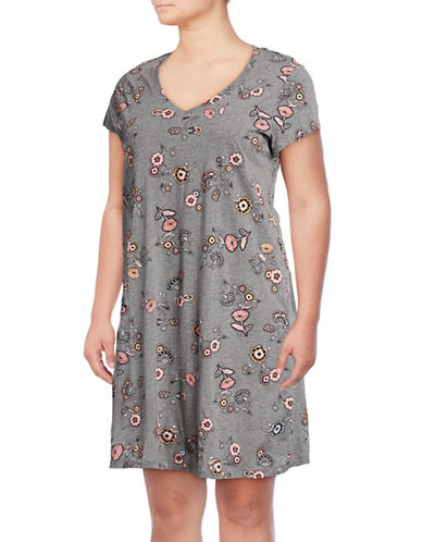 Lord & Taylor Plus Short-Sleeve Cotton Sleepshirt-MULTI-3X