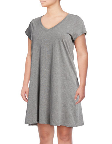 Lord & Taylor Plus Short-Sleeve Cotton Sleepshirt-DARK GREY-2X