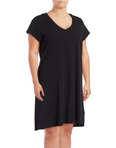 Lord & Taylor Plus Short-Sleeve Cotton Sleepshirt-BLACK-2X