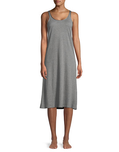 Lord & Taylor Butterfly Cotton Nightgown-DARK GREY-Large
