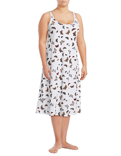 Lord & Taylor Plus Long Chemise-BUTTERFLY-1X