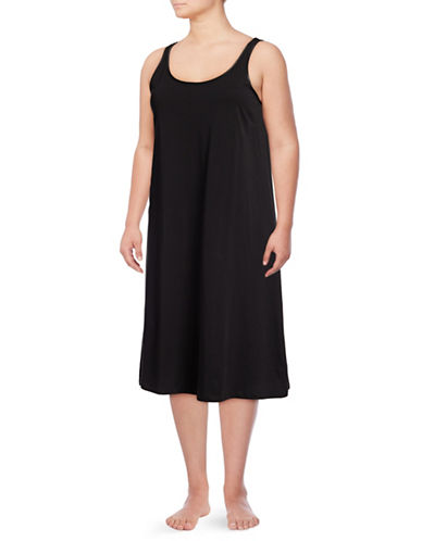 Lord & Taylor Plus Long Chemise-BLACK-2X