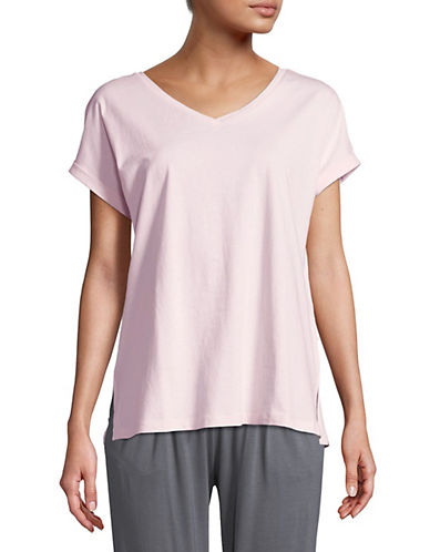 Lord & Taylor V-Neck Cotton Lounge Tee-PINK CLOUD-Large