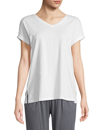 Lord & Taylor V-Neck Cotton Lounge Tee-WHITE-Small