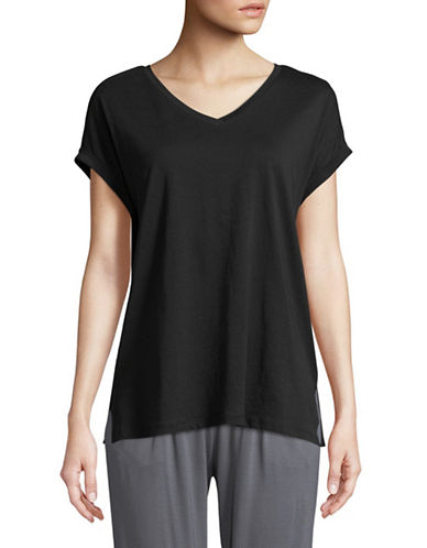 Lord & Taylor V-Neck Cotton Lounge Tee-BLACK-Medium