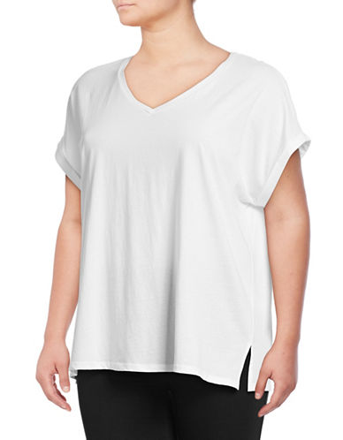 Lord & Taylor Plus V-Neck Cotton Lounge Tee-WHITE-3X