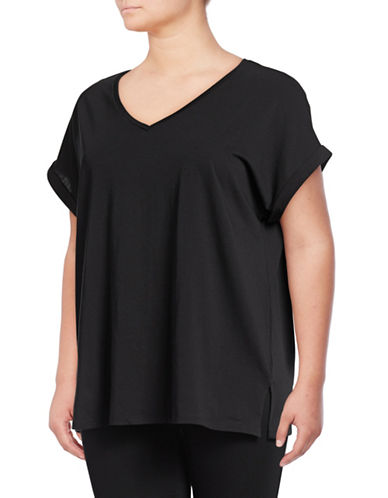 Lord & Taylor Plus V-Neck Cotton Lounge Tee-BLACK-1X