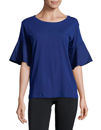 Lord & Taylor Peri Tulip-Sleeve Tee-NAVY-Medium