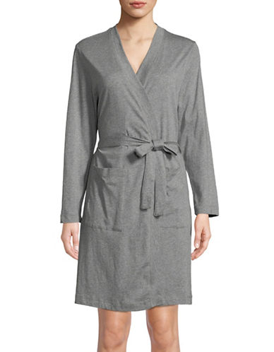 Lord & Taylor Self-Tie Cotton Robe-DARK GREY-Small