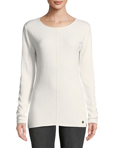 Manguun Seam Front Long-Sleeve Top-WHITE-X-Large