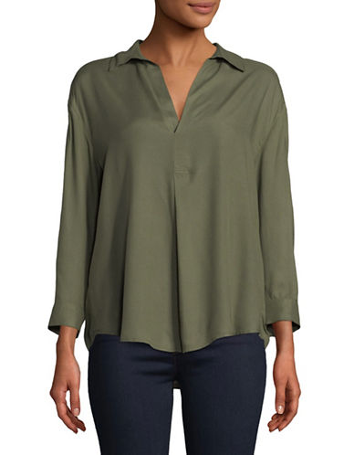 Lord & Taylor Jillian Popover Top-GREEN-Large
