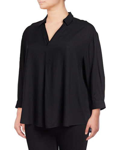 Lord & Taylor Jillian Popover Top-BLACK-X-Large