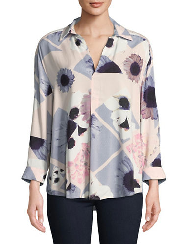 Lord & Taylor Floral Collared Blouse-PINK-Small