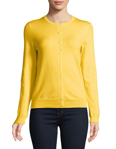 Lord & Taylor Long-Sleeve Crew Neck Cotton Cardigan-YELLOW-Medium