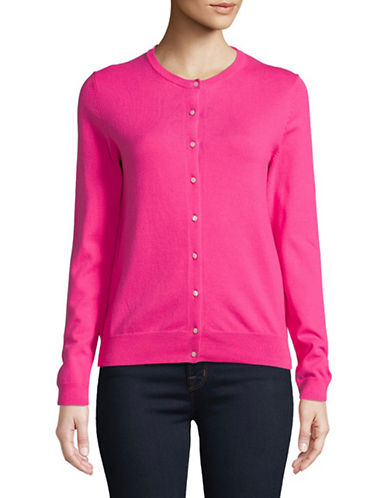 Lord & Taylor Long-Sleeve Crew Neck Cotton Cardigan-PINK-X-Small