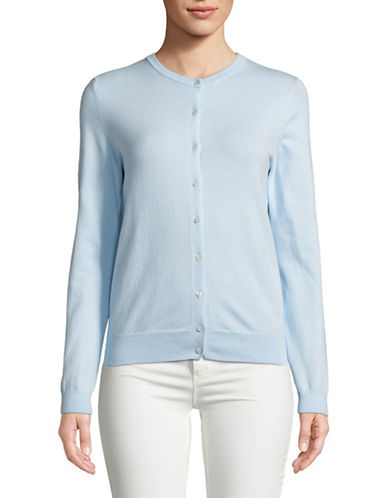 Lord & Taylor Long-Sleeve Crew Neck Cotton Cardigan-BLUE-Medium