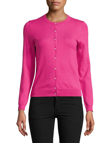 Lord & Taylor Petite Long-Sleeve Crew Neck Cardigan-PINK-Petite Small