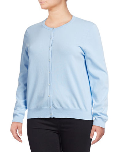 Lord & Taylor Plus Plus Crew Neck Long-Sleeve Cardigan-LIGHT BLUE-1X