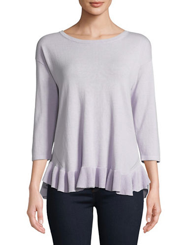 Lord & Taylor Ruffled Hem Three-Quarter Sleeve Top-PASTEL-X-Small
