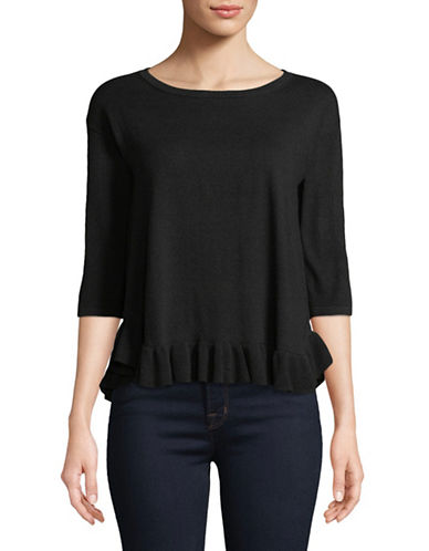 Lord & Taylor Petite Three Quarter Sleeve Ruffle Hem Sweater-BLACK-Petite Small