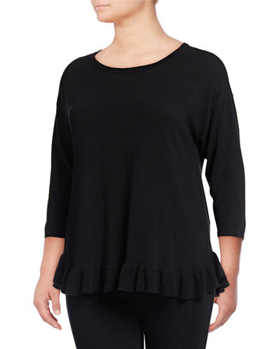 Lord & Taylor Plus Ruffled Hem Three-Quarter Sleeve Top-BLACK-1X