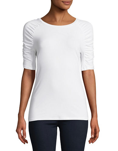 Lord & Taylor Ruched-Sleeve Tee-WHITE-Medium