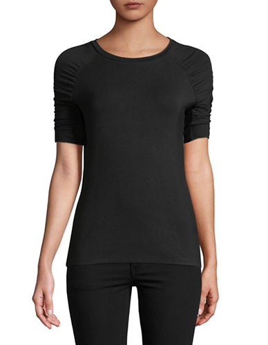 Lord & Taylor Ruched-Sleeve Tee-BLACK-X-Small