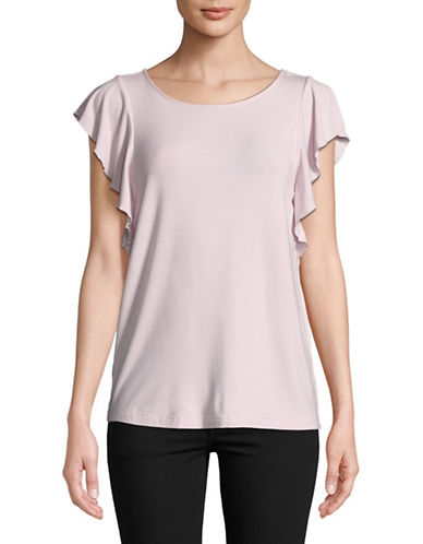 Lord & Taylor Cap-Sleeve Shell Top-PINK-Large