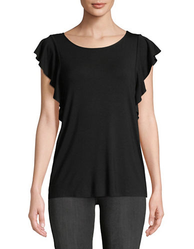 Lord & Taylor Cap-Sleeve Shell Top-BLACK-X-Large