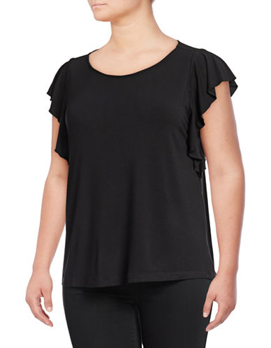Lord & Taylor Plus Ruffle Sleeve Top-BLACK-0X