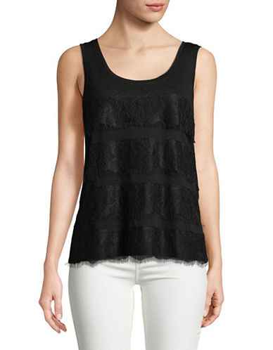 Lord & Taylor Tiered Lace Tank Top-BLACK-X-Large 89688729_BLACK_X-Large