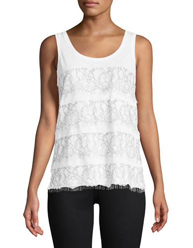 Lord & Taylor Tiered Lace Tank Top-WHITE-Medium