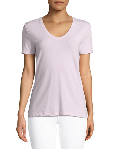 Lord & Taylor Short-Sleeve V-neck Tee-PINK-X-Small