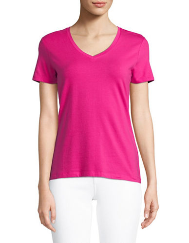 Lord & Taylor Short-Sleeve V-neck Tee-BRIGHT PINK-Large