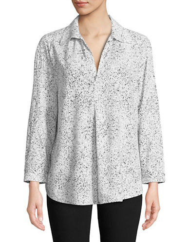Lord & Taylor Jillian Printed Long-Sleeve Top-WHITE-X-Small