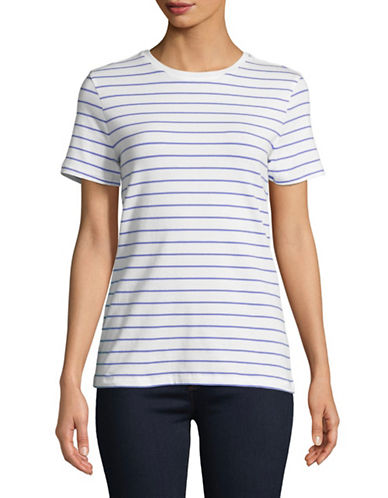 Lord & Taylor Striped Short-Sleeve Tee-BLUE-Small