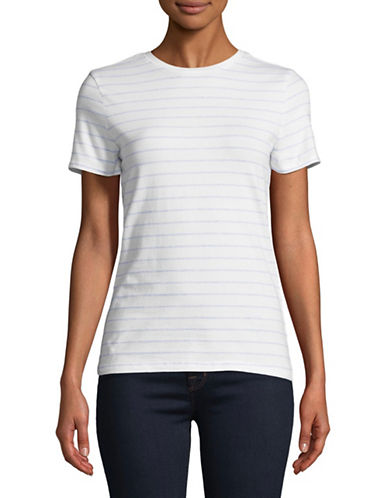 Lord & Taylor Striped Short-Sleeve Tee-WHITE/BLUE-Small