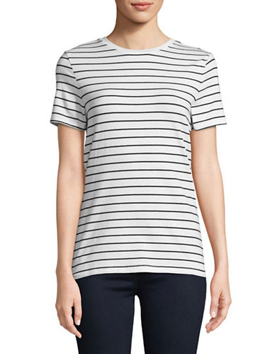 Lord & Taylor Striped Short-Sleeve Tee-BLACK-Medium
