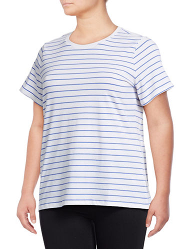 Lord & Taylor Plus Plus Striped Crew Neck Short-Sleeve Tee-WHITE/BLUE-3X
