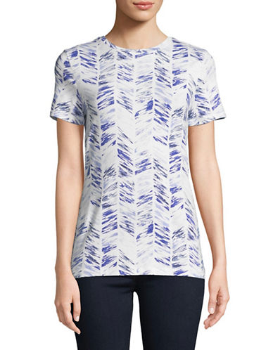 Lord & Taylor Printed Short-Sleeve Tee-WHITE/BLUE-Large