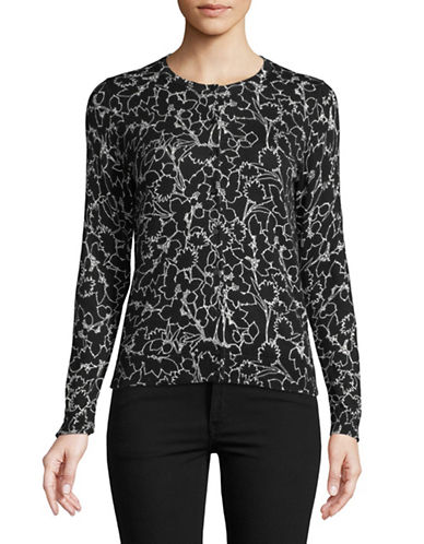 Lord & Taylor Floral-Print Cotton Top-BLACK-X-Small