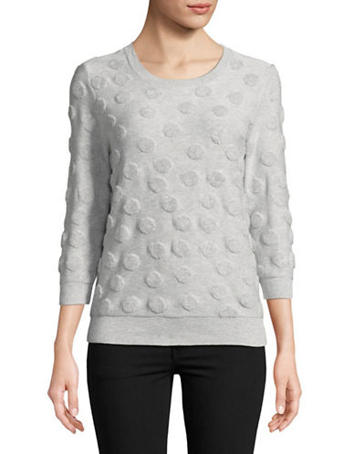 Lord & Taylor Shadow French Terry Cotton Sweater-GREY-Small