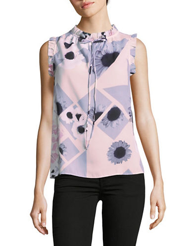 Lord & Taylor Floral Sleeveless Ruffle Top-PINK-X-Small