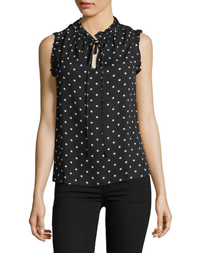 Lord & Taylor Polka Dot Sleeveless Top-BLACK-X-Large