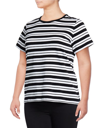 Lord & Taylor Plus Plus Essential Short-Sleeve Crew Tee-BLACK/WHITE-0X